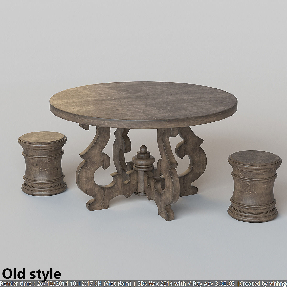 French Country Round Dining Table 3d Model Max Fbx