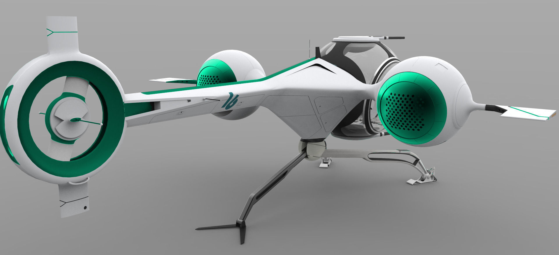 Futuristic self balancing helicopter obl 3d model for Futuristic household items