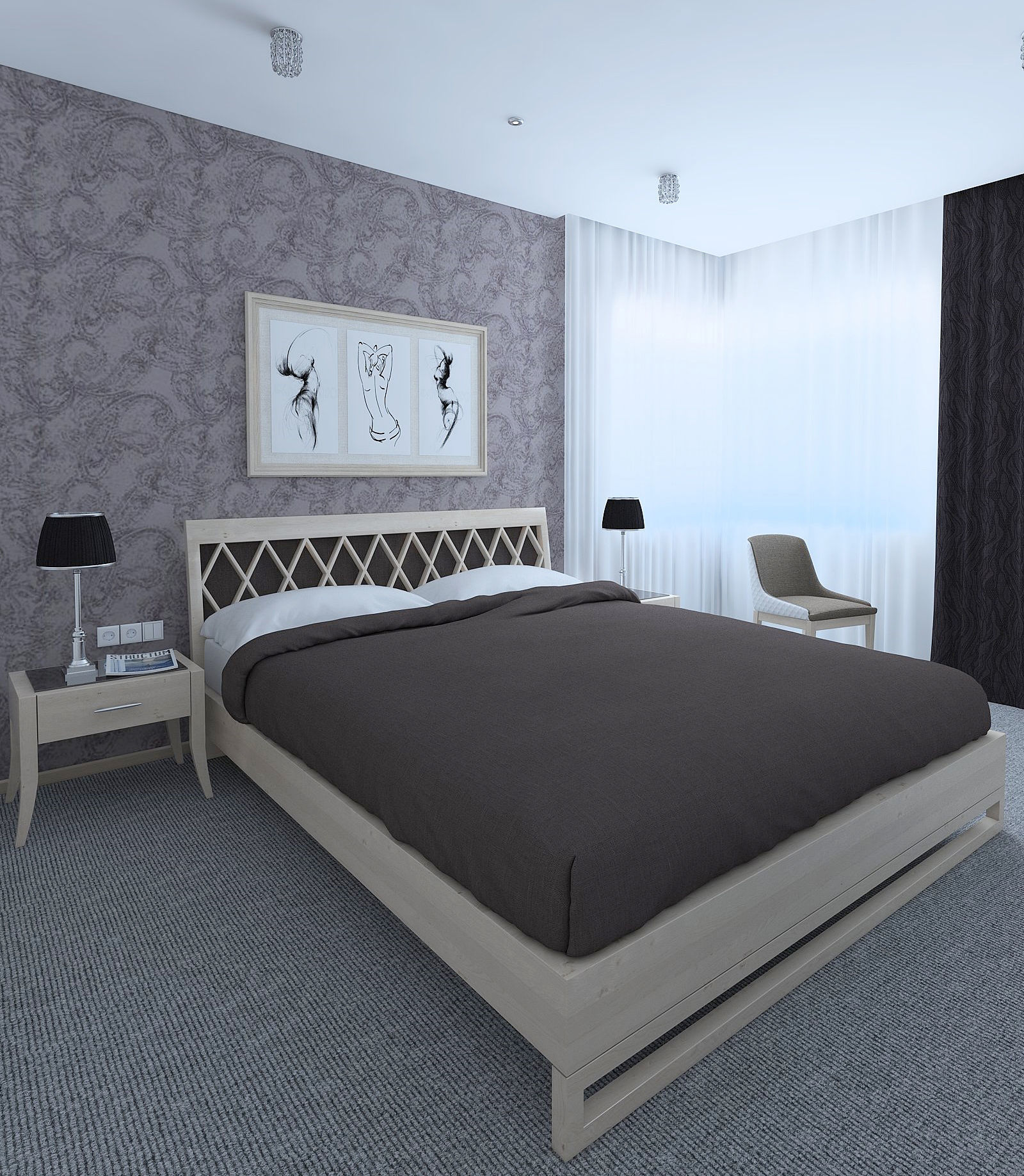 3D A simple bedroom with a gray carpet | CGTrader on New Model Bedroom  id=70053