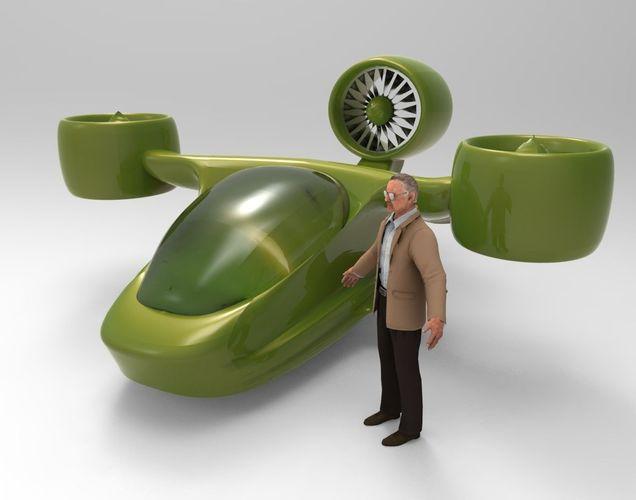 Futuristic Tricopter Aircraft3D model