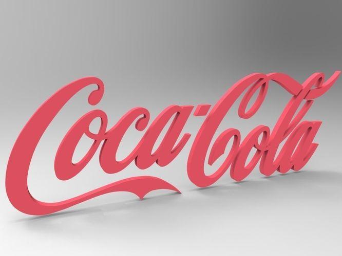 low poly coca cola logo 3d model obj mtl fbx stl dwg 1