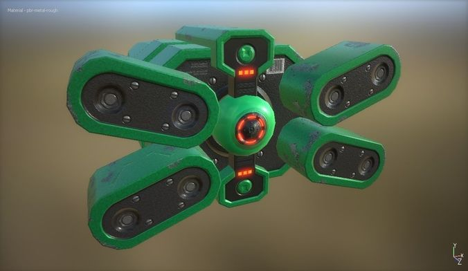 futuristic device 3d model low-poly obj mtl fbx blend 1