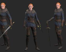 3D asset Female Elf Fighter