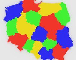 Map of Poland 3D asset