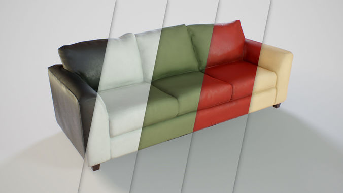 Pbr Customizable Sofa Model Low Poly Obj Mtl Fbx Dae 1