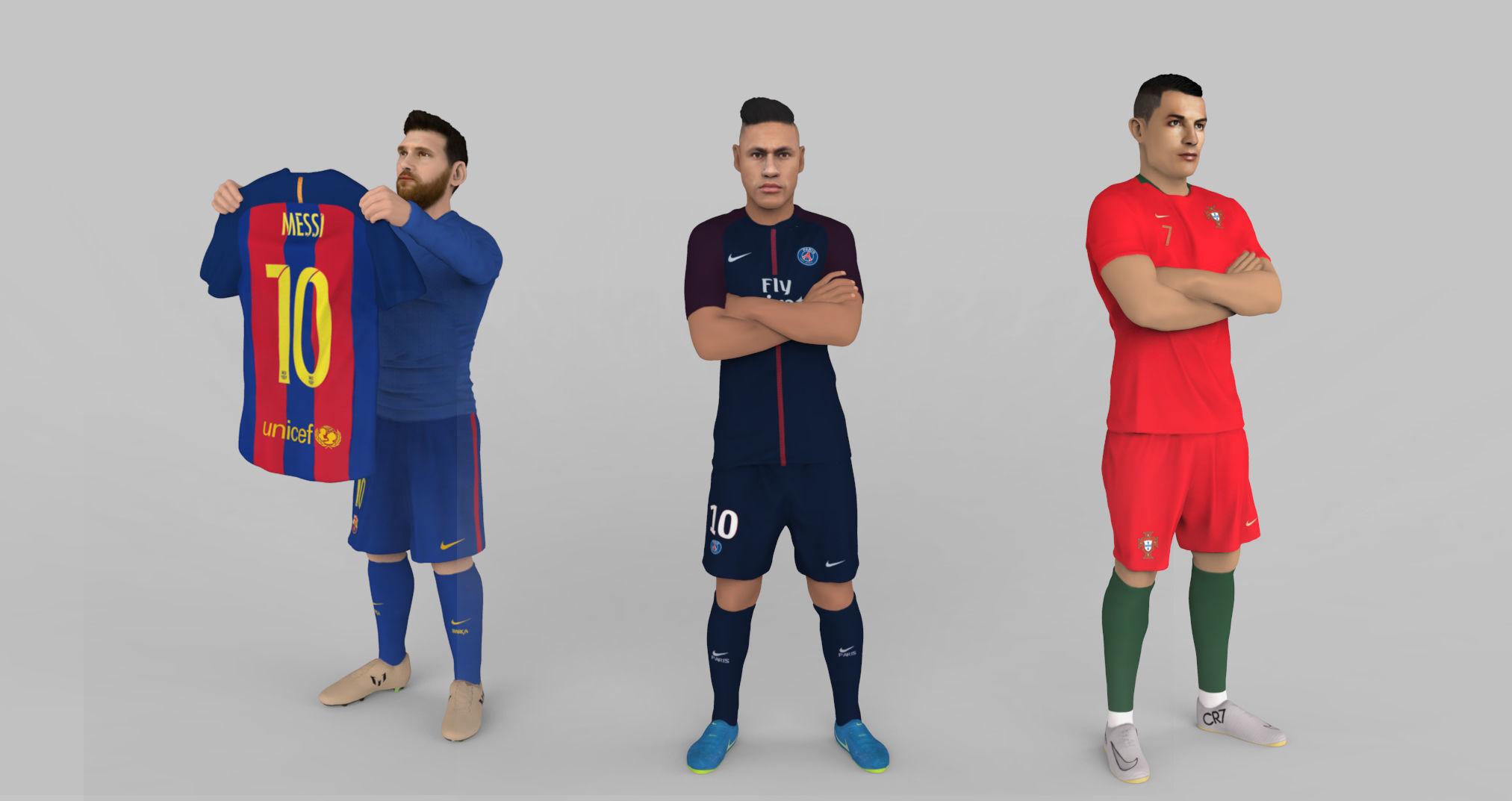 Messi Ronaldo Neymar pack ready for full color 3D printing