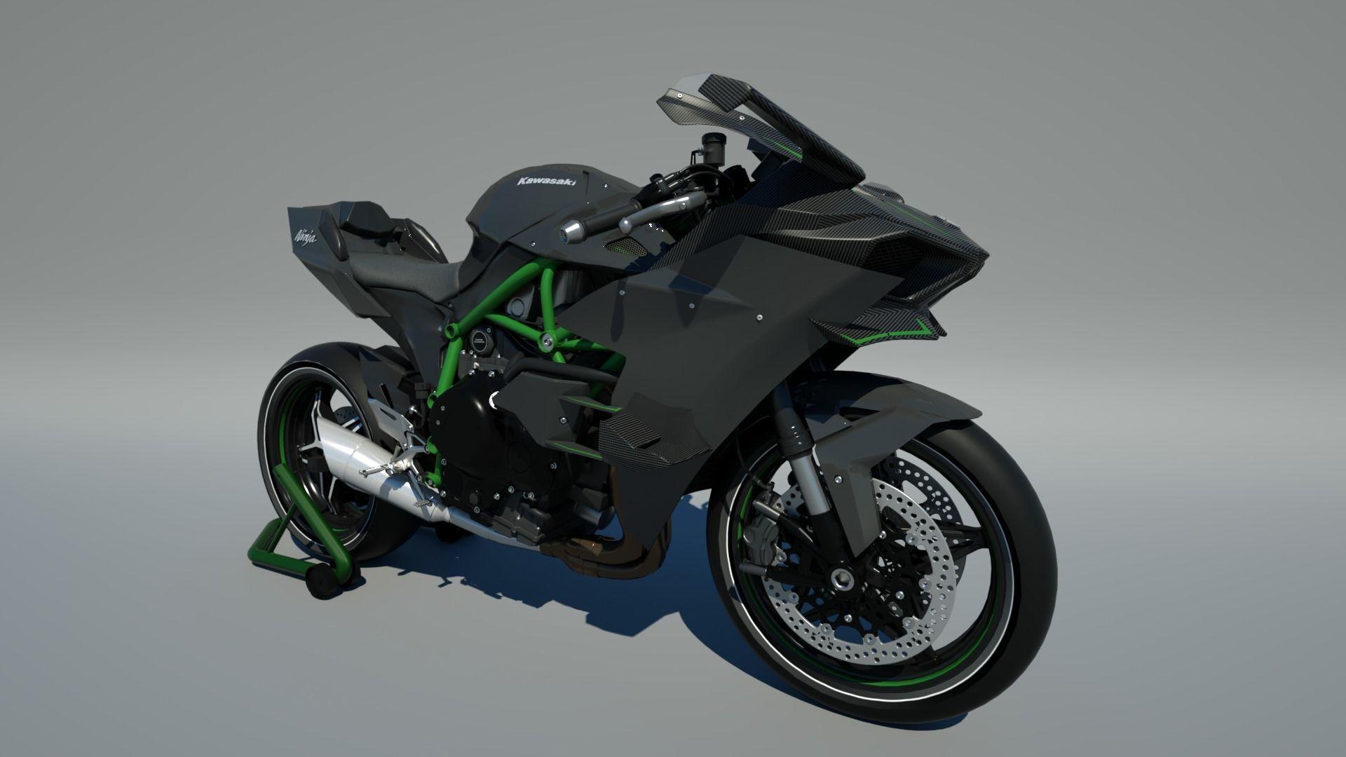 Kawasaki Ninja H2r 3d Model Low Poly Obj Fbx Blend Mtl