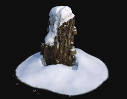 3D model low-poly Photoscan Stump with snow 2