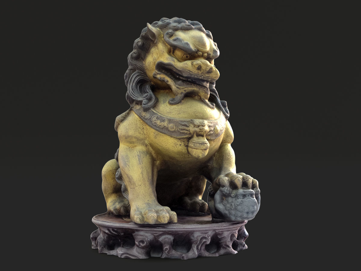 Chinese style bronze lion statue