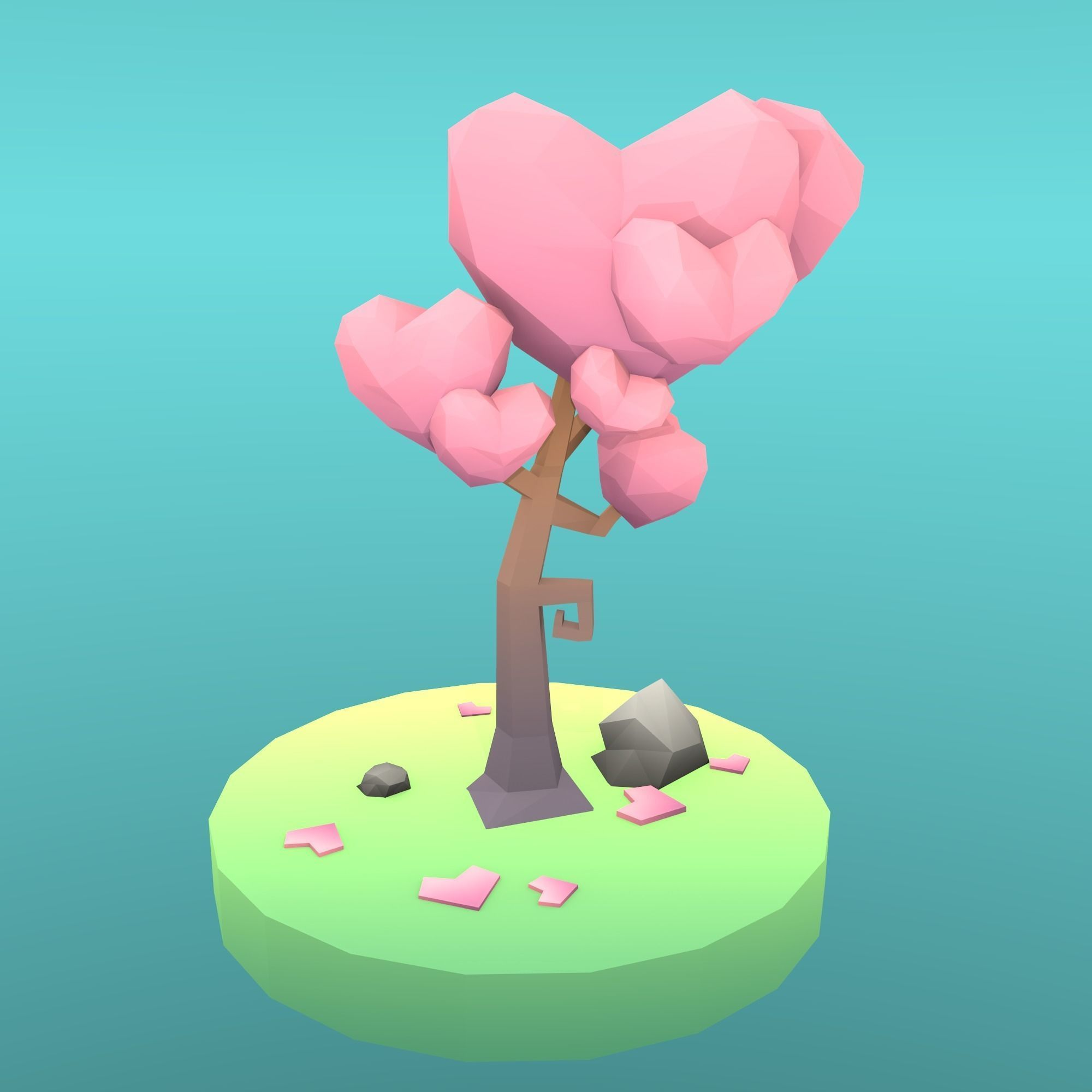 Low Poly Tree - The Tree Of Hearts