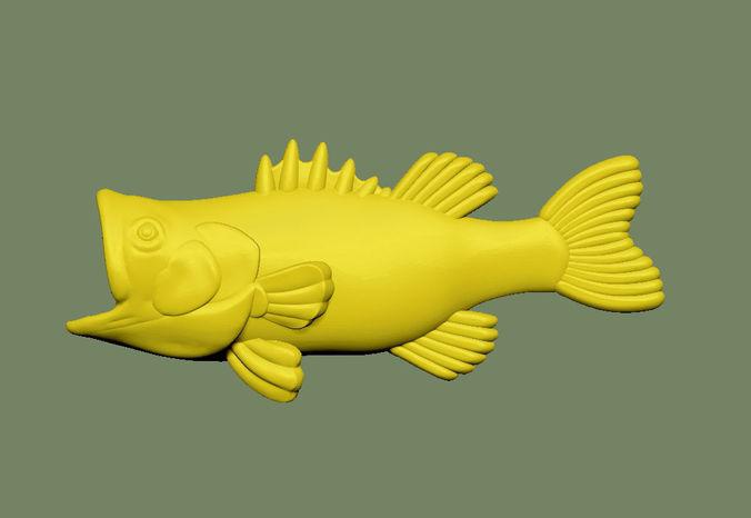 bass fish solid 3d model stl 1
