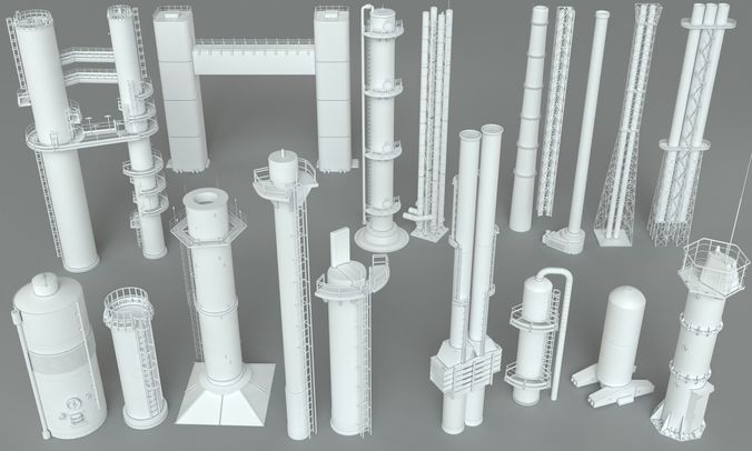 industrial tubes - 18 pieces 3d model max obj mtl fbx stl 1