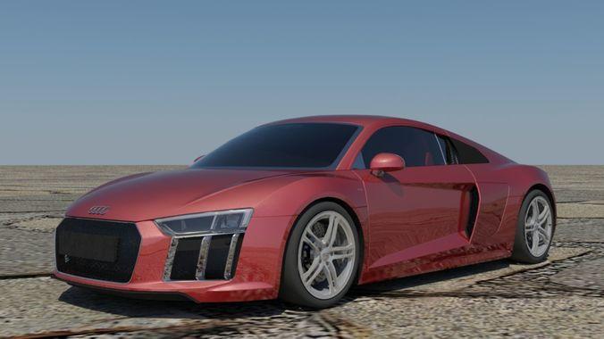 Audi R8 V10 Coupe VR / AR / Low Poly 3D Model