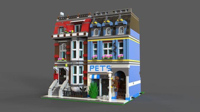 lego pets shop 3d model 3d model low-poly obj mtl 3ds fbx c4d 1