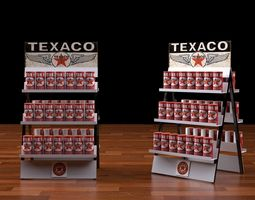 gas station rack 1 texaco motor oil 3D Model