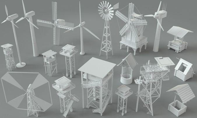 environment units-part-1 - 19 pieces 3d model max obj mtl fbx stl 1