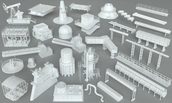 factory units-part-1 - 32 pieces 3d model max obj mtl fbx stl 1