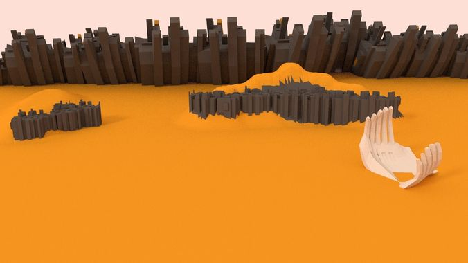 low poly apocalyptic desert pack 3d model low-poly blend 1