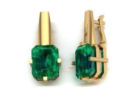 Earrings with emerald 3D print model
