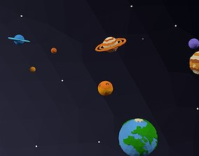 3D model low-poly Low Poly Solar System