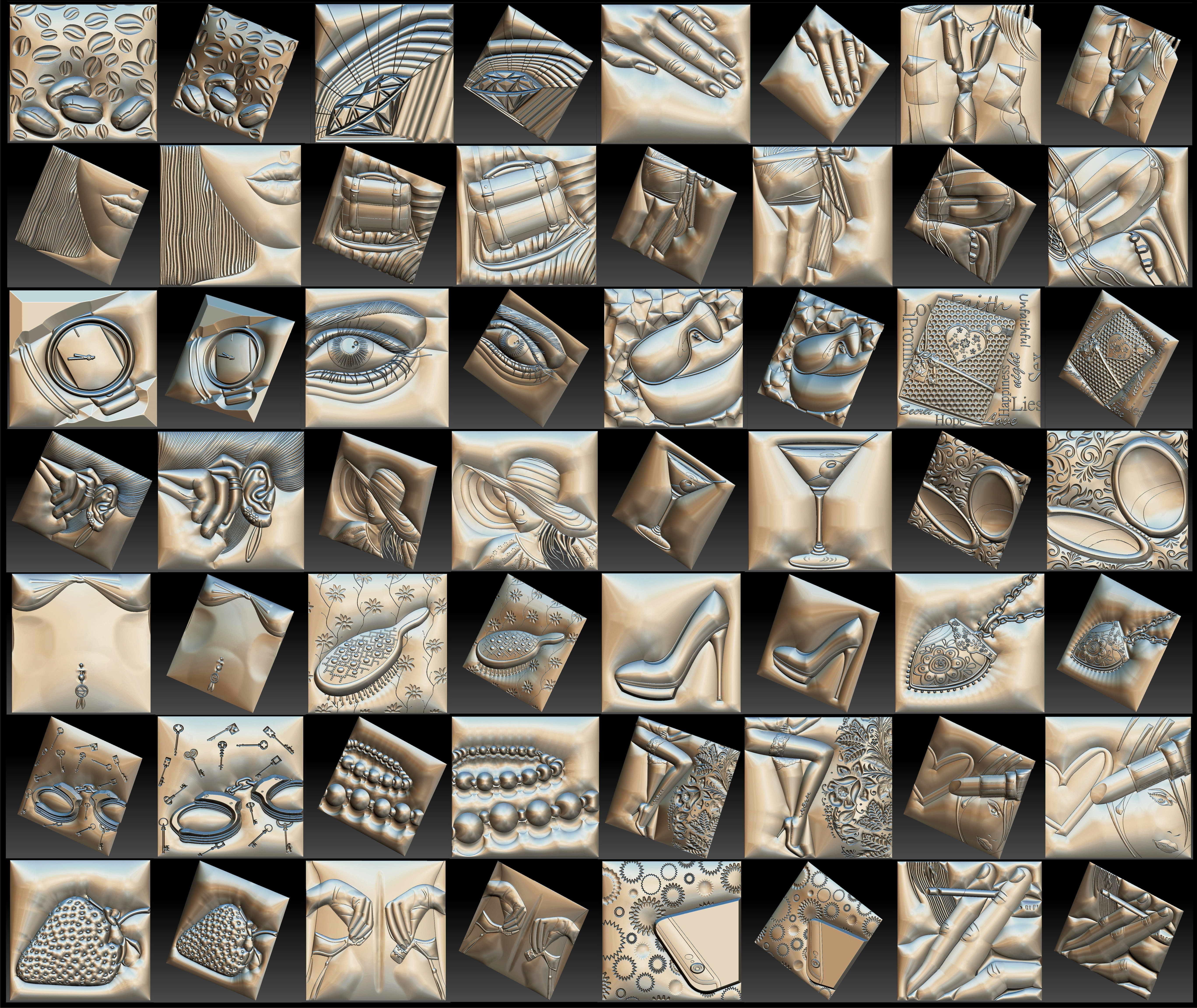 Set Women Theme Basorelief for CNC 3D Router