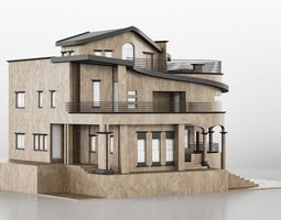 3D asset Three Story House