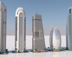 3D model futuristic skyscrapers