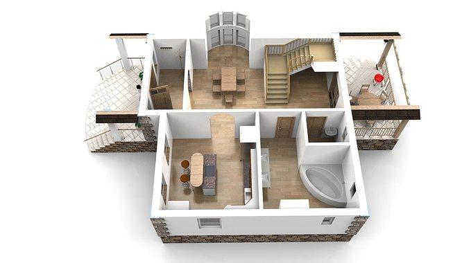 Modern house with interior 3d model obj 3ds stl for House 3d model online