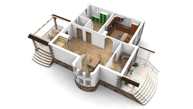 Modern house with interior 3d model obj 3ds stl for Modern house 3d model