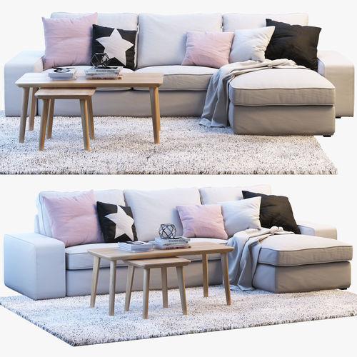 Ikea kivik 3 two seat sofa with chaise longue 3d model for Kivik 3 plazas chaise longue