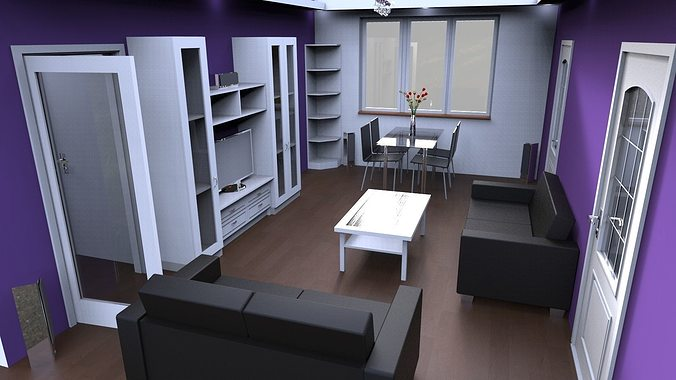 flat interior 3d model obj 3ds stl skp wrl wrz 1