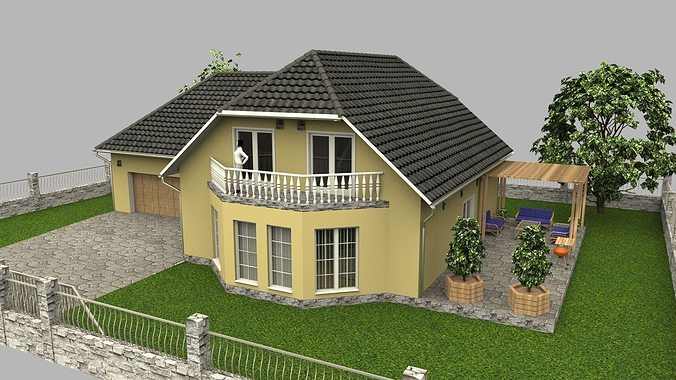 family house with garage 3d model obj 3ds stl skp wrl wrz 1