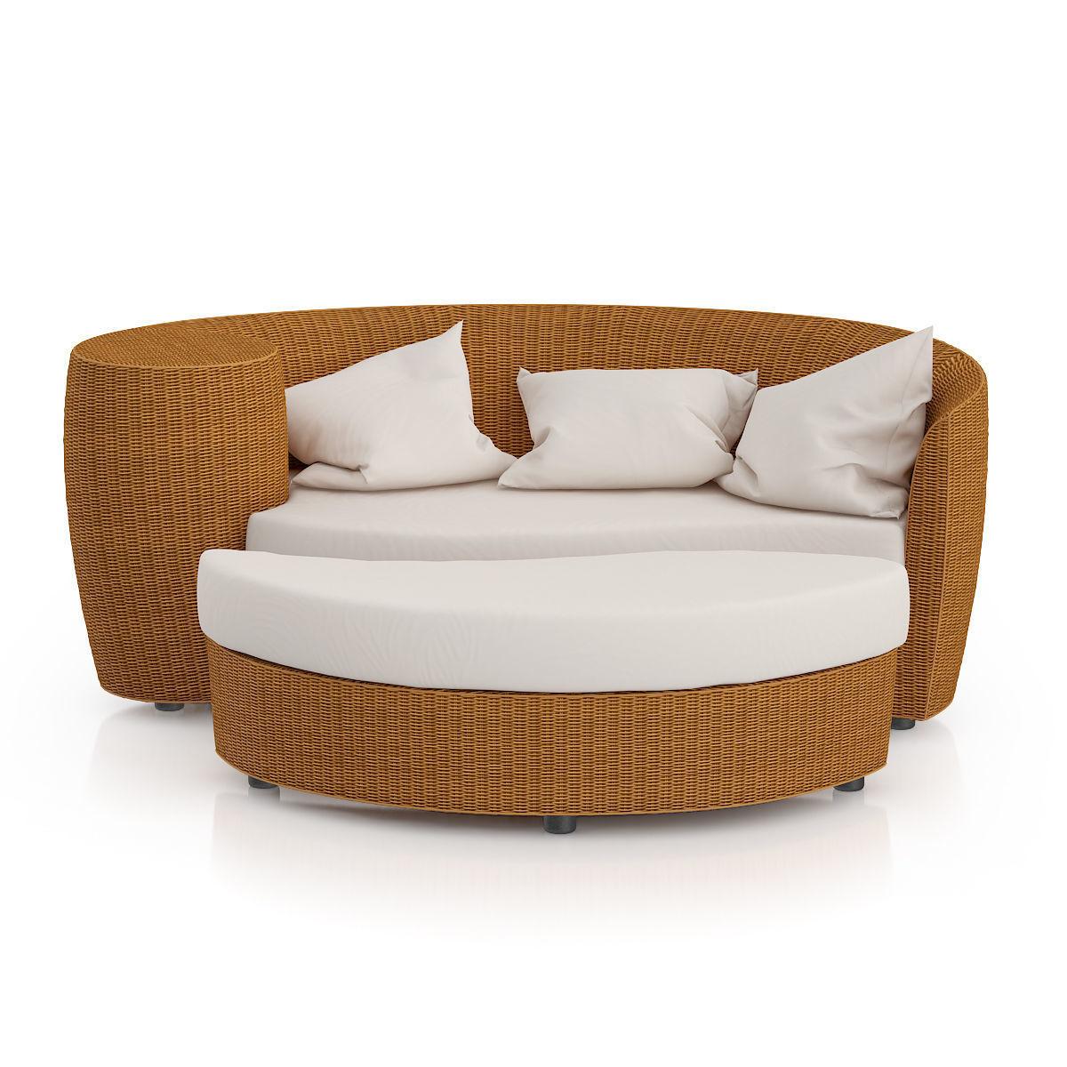 Wicker Sofa With Footrest 3d Model Max Obj Mtl Fbx C4d 1 ...