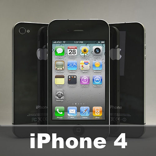 apple iphone 4 3d model obj mtl 3ds fbx c4d dxf stl 1
