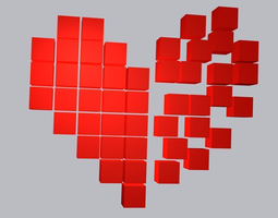 Pixel Broken Heart 3D Model