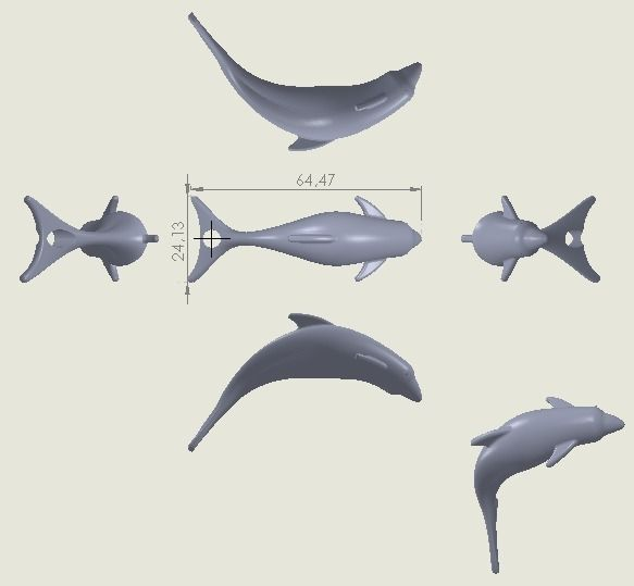 Dolphin 3D Model Free 3D Model 3D Printable .obj .stl