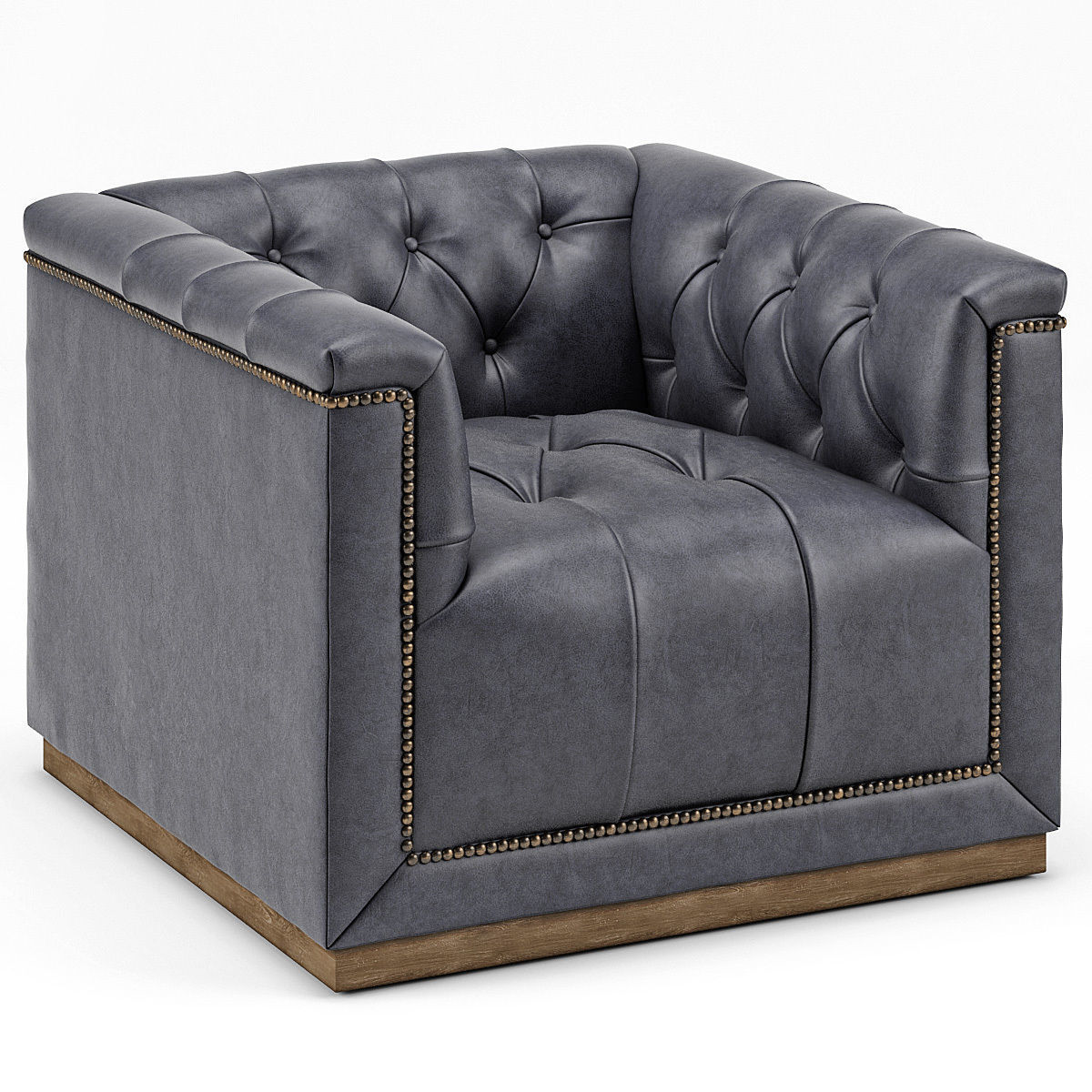 3d Model Emmy Rustic Lodge Black Leather Tufted Cube