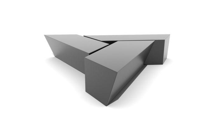 Three Piece Triangular Coffee Table 3d Model Low Poly Obj Fbx Ma Mb ...