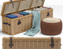 Brenna Leather Accent Woven Rattan Trunk 3D model