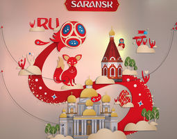 3D FIFA World Cup 2018 Russia host city SARANSK russia
