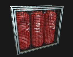 3D model Low Poly PBR 48kg Gas Bottle with Storage Cage