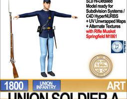 Civil War Union Soldier A Infantry 3D Model
