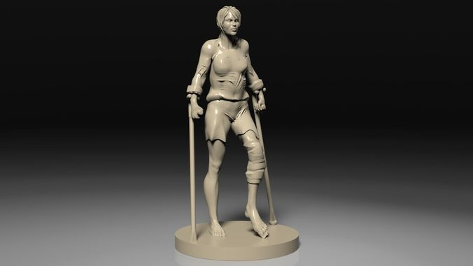 woman on crutches 3d model obj mtl stl 1