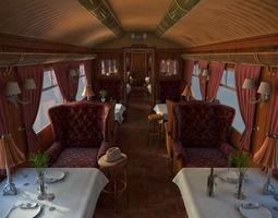 Old luxury train dining wagon 3D Model