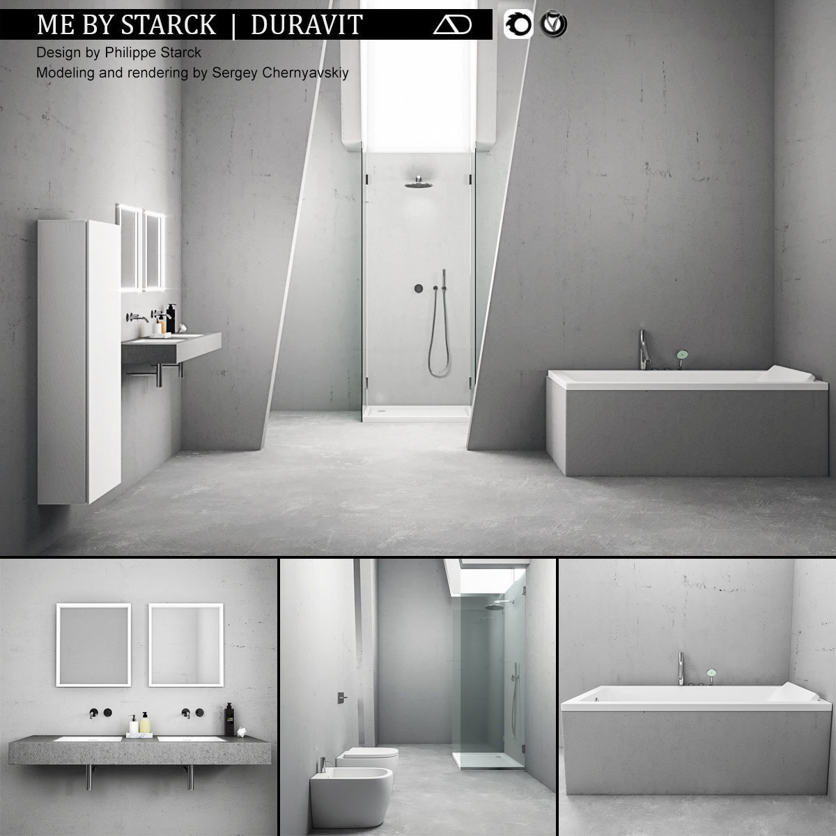 3D Bathroom furniture set ME by Starck Duravit | CGTrader