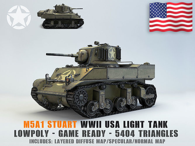 low poly m5a1 stuart light tank 3d model obj mtl fbx ma mb 1