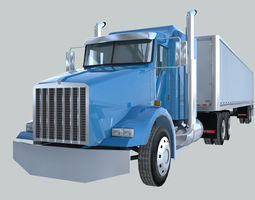 3D asset Heavy Duty tractor truck american design low poly