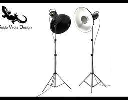 Professional studio strobe with beauty dish 3D Model