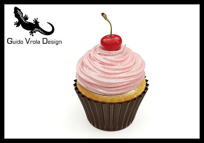 3d Model Cupcake With Cherry Cgtrader