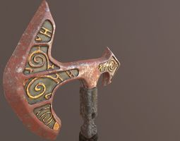 Battle Axe Mid Poly - UV and Textures 3D model